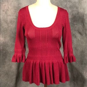 Burgundy Knit Top with Cinched waist size M